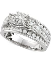 Macy's - Diamond Triple Cluster Channel-set Engagement Ring (1-1/2 Ct. T.w.) In 14k White Gold - Lyst