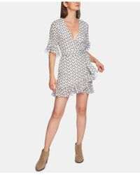 1.STATE - Floral Ruffle Wrap Dress - Lyst