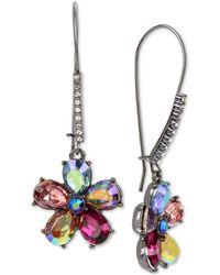 Betsey Johnson - Hematite-tone Crystal Flower Drop Earrings - Lyst