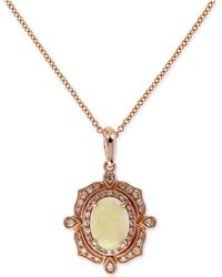 Effy Collection - Opal (9/10 Ct. T.w.) And Diamond (3/8 Ct. T.w.) Pendant Necklace In 14k Rose Gold - Lyst