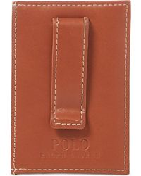 Polo Ralph Lauren - Men's Accessories, Burnished Leather Card Case With Money Clip - Lyst