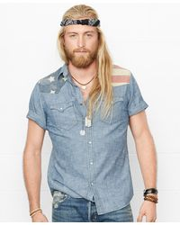 06d278b3eb Denim   Supply Ralph Lauren - Men s American Flag Yoke Western Shirt - Lyst