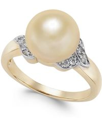 Macy's - Cultured Golden South Sea Pearl (9mm) And Diamond (1/6 Ct. T.w.) Ring In 14k Gold - Lyst