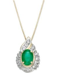 Macy's - Emerald (1 Ct. T.w.) & Diamond (1/4 Ct. T.w.) Pendant Necklace In 14k Gold - Lyst