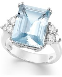 Macy's - 14k White Gold Ring, Aquamarine (5-1/2 Ct. T.w.) And Diamond (1/2 Ct. T.w.) Emerald-cut Ring - Lyst