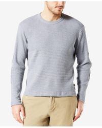 bd8b1043 Lyst - Dockers French Terry Henley Long Sleeve Shirt in Gray for Men