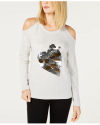 INC International Concepts - I.n.c. Sequin Heart Cold-shoulder Sweatshirt, Created For Macy's - Lyst