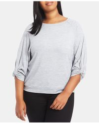 1.STATE - Plus Size Knotted-sleeve Sweatshirt - Lyst