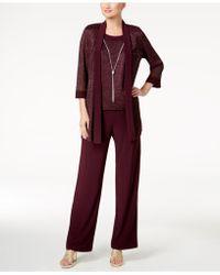R & M Richards - Metallic Pantsuit, Shell & Necklace Set - Lyst