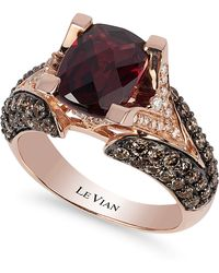 Le Vian | Raspberry Rhodolite Garnet (3 Ct. Tw.w.), Chocolate Diamond (1-1/5 Ct. T.w.) And White Diamond Accent Ring In 14k Rose Gold | Lyst