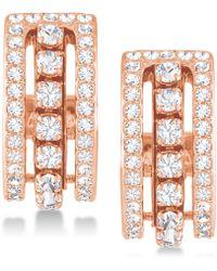 Swarovski - Rose Gold-tone Crystal Triple-row Hoop Earrings - Lyst