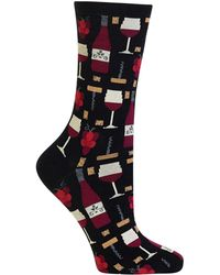 Hot Sox - Wine Printed Crew Socks - Lyst