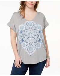 Style & Co. - Plus Size Printed V-neck T-shirt - Lyst