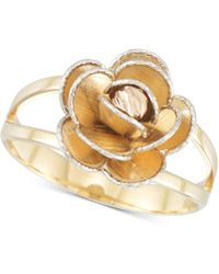 Macy's - Tri-colour Flower Split Shank Ring In 14k Gold, White Gold & Rose Gold - Lyst