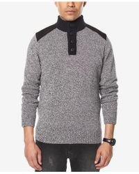 Sean John | Men's Marled Henley Sweater | Lyst