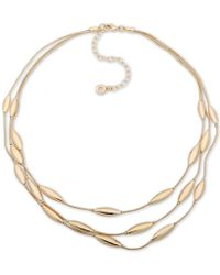 """Anne Klein - Gold-tone Oval Triple-row Collar Necklace, 16"""" + 3"""" Extender - Lyst"""