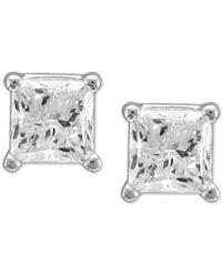 Macy's - Diamond Princess Stud Earrings (1/2 Ct. T.w.) In 14k White Gold - Lyst