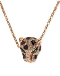 Effy Collection - Diamond (1/5 Ct. T.w.) And Emerald Accent Panther Pendant Necklace In 14k Rose Gold - Lyst