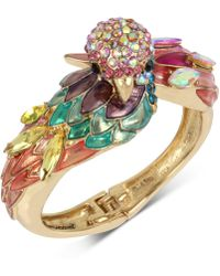 Betsey Johnson - Gold-tone Multi-stone Parrot Bangle Bracelet - Lyst
