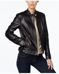 Cole Haan - Snap-button Leather Moto Jacket - Lyst