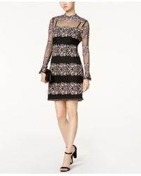 Julia Jordan - Mock-neck Mixed-lace Illusion Dress - Lyst
