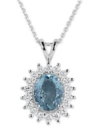 Macy's - Aquamarine (2-1/2 Ct. T.w.) And Diamond (3/4 Ct. T.w.) Oval Pendant Necklace In 14k White Gold - Lyst