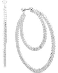 "Nine West - Textured 1-2/3"" Double Hoop Earrings - Lyst"