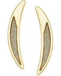 ABS By Allen Schwartz - Gold-tone Crescent Glitter Drop Earrings - Lyst