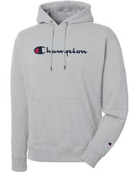 Champion - Reverse Weave Chain Stitch Script Logo Gray Mens Hoodie - Lyst