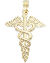 Macy's - Caduceus Charm In 14k Gold - Lyst
