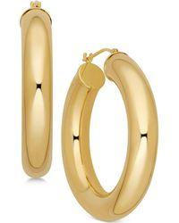 Macy's - Polished Chunky Tube Hoop Earrings In 14k Gold - Lyst
