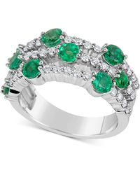 Macy's - Emerald (1-3/4 Ct. T.w.) And Diamond (5/8 Ct. T.w.) Ring In 14k White Gold - Lyst