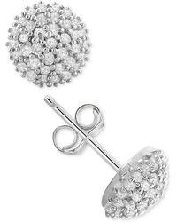 Macy's - Diamond Pavé Stud Earrings (1/4 Ct. T.w.) In Sterling Silver - Lyst