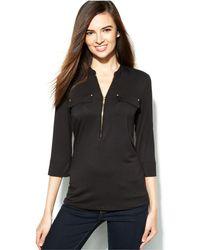 Calvin Klein - Roll-tab-sleeve Zip-front Top - Lyst