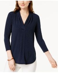 Charter Club - Printed V-neck Top, Created For Macy's - Lyst