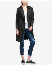 DKNY - Ruffle-trim Belted Trench Coat - Lyst