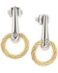 Charriol - White Topaz Accent Circle Drop Earrings In Pvd Stainless Steel & Gold-tone - Lyst