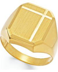 Macy's - Men's Polished Ring In 14k Gold - Lyst