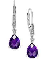 Macy's | Gemstone (3 Ct. T.w.) And Diamond Accent Birthstone Drop Earrings In Sterling Silver | Lyst