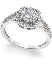Macy's - Cushion-cut Diamond Promise Ring (1/4 Ct. T.w.) In Sterling Silver - Lyst