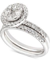 Macy's - Diamond Halo Cluster Bridal Set (1-1/2 Ct. T.w.) In 14k White Gold - Lyst