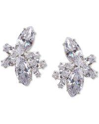 Nina - Silver-tone Crystal Cluster Flower Stud Earrings - Lyst