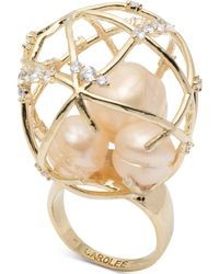 Carolee - Gold-tone Crystal & Imitation Pearl Caged Dome Statement Ring - Lyst