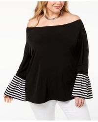 Michael Kors - Michael Plus Size Striped-cuff Off-the-shoulder Top - Lyst
