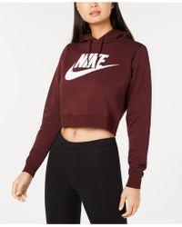 fa0d9c49f9496 Lyst - Nike Sportswear Rally Logo Cropped Fleece Hoodie in Red