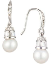 Carolee - Silver-tone Crystal & Freshwater Pearl (6mm) Drop Earrings - Lyst