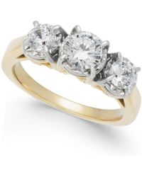 Macy's | Diamond Trinity Engagement Ring (1 Ct. T.w.) In 14k Gold | Lyst