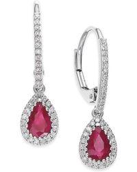 Macy's - Ruby (3/4 Ct. T.w.) And Diamond (1/5 Ct. T.w.) Drop Earrings In 14k White Gold - Lyst