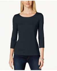 Charter Club | Three-quarter-sleeve Top, Only At Macy's | Lyst