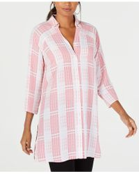 Alfani - Collared Plaid Super Tunic, Created For Macy's - Lyst